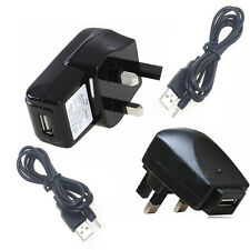 3 pin UK mains Charger With USB Cable for Versus Touch-pad 7 Tablet (5V 1A)