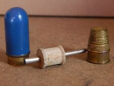 Art Deco Thimble and miniature cotton reel case 5cm blue