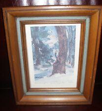 Vtg Original Winter Scene Watercolor Print Maleta Forsberg Native Kansas Artist