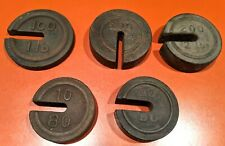 Cast Iron General Store Platform Scale Weights, Lot of 5 Antique Vintage