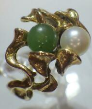 14K Yellow Gold Green Jade Pearl Ball 5.75mm Ring 6.791 Grams Size 8 Hallmark