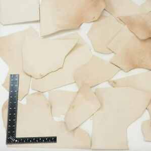 8 LB Vegetable Tan Tooling Cowhide Leather Scraps Light 3-6 oz. (1-2.4mm) Thick