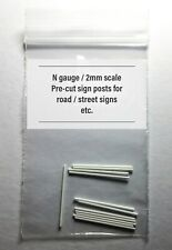 N gauge Sign Posts, for Road Signs etc, cut to size, White ABS plastic, N scale