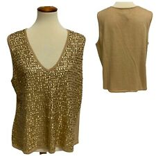 Venezia Jean Sleeveless Metallic Gold Top Cute Details Women's sz 18/20 (H-1B)