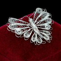 Antique Vintage Nouveau Sterling Silver Filigree Figural Butterfly Pin Brooch