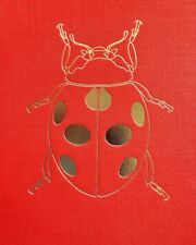 "Golden Ladybug Print on Red Cloth Board Insects Nice 10.5""x13""X1/8&# 034; L@K!"