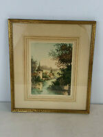 Vintage Antique Paris Etching Society NY Signed Pierre Landscape Print