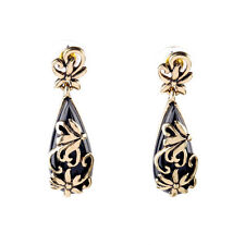 E817 Betsey Johnson Gatsby Gold n Black Wedding Accessories Vintage Earrings UK