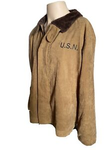 Vintage WWII USN Jacket US Navy Military Deck Style Coat Corduroy RARE!