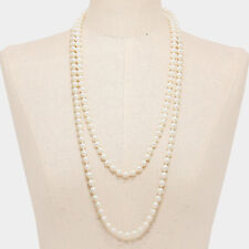 "60"" cream faux pearl layered long choker collar bib statement Necklace 8mm"