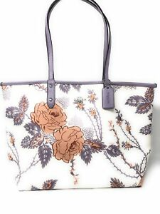 Coach Reversible City Thorn Rose Tote in Purple/Chalk