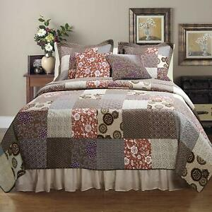 BEAUTIFUL LODGE LOG CABIN BROWN PATCHWORK BURGUNDY COUNTRY SOUTHWEST QUILT SET