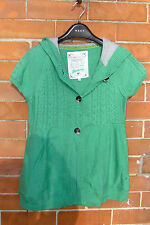 mantaray green cotton short sleeved cotton cardigan hooded top