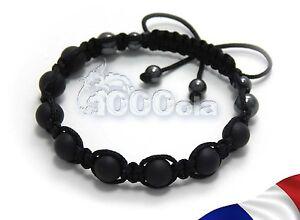 New bracelet STYLE Tibétain Homme Perles Agate NOIR MAT 8mm+HEMATITE+fil noir