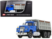 Mack R Dual Axle Dump Truck Blue with Gray Body 1/64 Diecast DCP First Gear