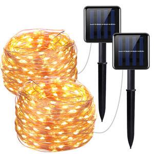 2 * 100 LED solar rope tube fairy lights light bar waterproof outdoor garden