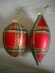 LARGE RED PLAID CHRISTMAS GLASS ORNAMENTS, SET OF TWO, GLITTER, STRINGS