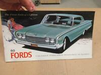 1960 Ford Cars Sales Brochure  Original Galaxie Sunliner Fairlane 12 pages!!