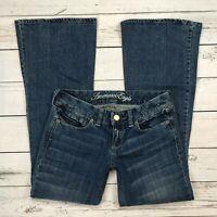 American Eagle Real Flare Jeans Size 4 Short Womens Stretch Denim Medium Wash
