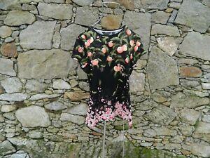 TED BAKER Peach Blossom Viscose Tee Cap sleeve BLACK size 2 (UK 10-12) BNWT