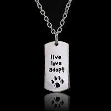 NUOVO Argento Placcato Live Love adottare cane gatto Paw Print Inciso Collana fr10