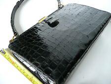 Vintage Black Mock Crock Leather 50s 60s Handbag Kelly Bag Goodwood Wedding