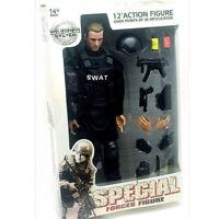 """1/6 Soldier Action Figure 12"""" SWAT Black Uniform Model Military Army Suit Toys"""
