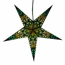 Green Obsession Paper Star Light Lamp Lantern with 12 Foot Cord Included
