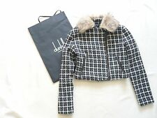 Dunhill cropped zip jacket Optional fake fur collar Black/grey W bag VGC UK 6