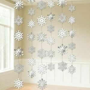 Copo de Nieve Cuerda Decorativa 2.1m Plata Blanco Hielo Colgante Elegante