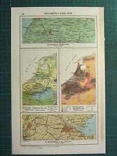 1921 MAP ~ BELGIUM & NETHERLANDS ~ POPULATION AMSTERDAM ENVIRONS SOIL ROTTERDAM