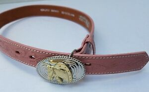 Nocona Girl's Kid Cowgirl Horse Pink Leather Belt Gold Silver Buckle 26 N4410530