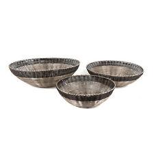 Set of 3 Metal Iron Wire Black Silver Grey Fruit Bread Vegetable Basket Bowl