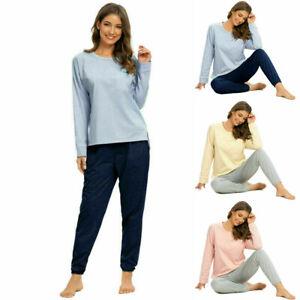 Ladies Lounge Loose Long Sleeve Sleepwear Casual Pajamas Set Soft Solid Homewear