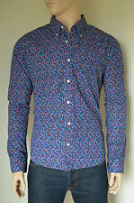 NUOVO Abercrombie & Fitch classica Stampa Floreale Bottoni Camicia Navy & Rosso XL