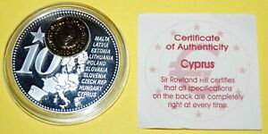Cyprus 1 Coin(gilded)+Medal 40mm, 31g, Proof Like + Zertifikat