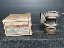 Vintage AUTO-LITE Carbide Miner's Light Universal Lamp Co for HAT With Guy's Box
