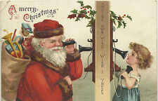 sgnd - ELLEN CLAPSADDLE - SANTA w TOY BAG - TALKS w CHILD on WALL PHONE - 1910