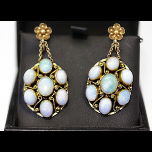 Antique 1930's, 14 stone Opal and gold cluster drop earrings, with lovely twiste