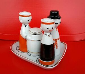 1960's USSR Latvia Riga Factory Porcelain Folk Porcelain Spice Set