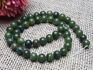 Strang 47 Stck Edelstein Gemstone Perlen Taiwan Jade Olive grün rund Kugel 8 mm