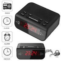 "Wired Digital FM 87.5-108MHz Radio Time Clock Alarm LED 0.6"" LCD Display EU Plug"