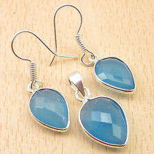 Exceptional Matching SET ! 925 Silver Plated BLUE CHALCEDONY Earrings & Pendant