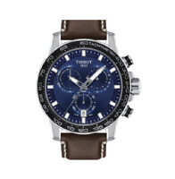 Authentic Tissot SuperSport Chrono Blue Dial Brown Leather Watch T1256171604100