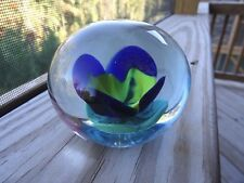 Robert Hamon Signed CUT TULIP Blue Yellow Flower Paperweight  RH Crimp