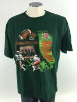 Miami Hurricanes VTG 90s Football T Shirt XL Green Nutmeg Mills College Mens