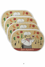 Set 4 Fat French Chef & Wine Plastic Kitchen Table Mats Placemats Bistro Decor