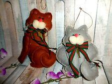 2 Puffy Felt Cat Christmas Ornaments