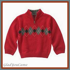 NWT Gymboree sz 4  Holiday Pictures Boy Red Argyle Sweater Winter Cardigan