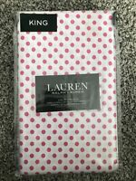 Ralph Lauren Pillowcases Pink Polka dot 2 King Size RARE White
